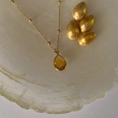 Faceted citrine drop chain necklace silver 925