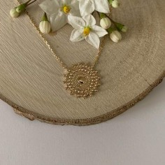 Medium sun medal chain necklace gold plated