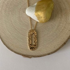 Hammered oval chain necklace gold plated