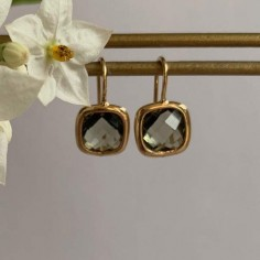 Smoky brown square stones earrings gold plated