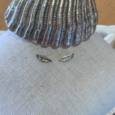 Small feathers earrings silver 925
