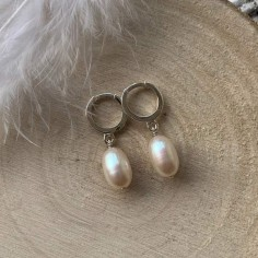 Small creole white freshwater pearl earrings silver 925