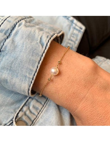 Small beads chain bracelet gold plated white mother of pearl cross