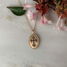 Chain necklace gold plated black cross matte medal