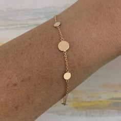 Chain bracelet gold plated seven small pastilles