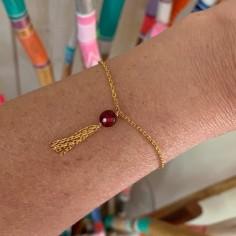 Bracelet chaine anneau coeur plaqué or