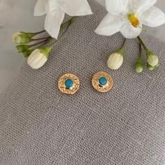 Circled stars zircons earrings matte gold plated