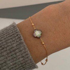 Small beads chain bracelet gold plated grey mother of pearl cross