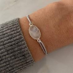 Cord bracelet silver 925 oval white labradorite