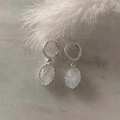 Oval white moonstone earrings silver 925
