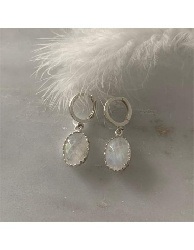 Big oval white moonstone earrings silver 925