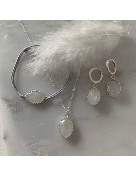 Big oval white moonstone earrings silver 925