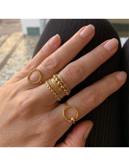 Beaded large ring gold plated