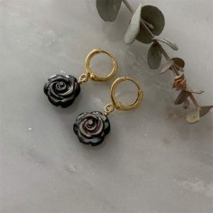Small creole grey mother of pearl rose earrings gold plated