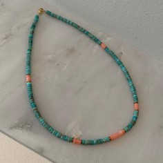 Heishi black and turquoise stones necklace