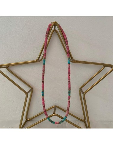 Heishi pink and green stones necklace