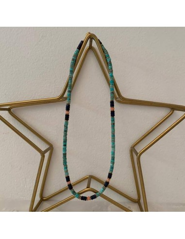 Heishi turquoise and pink stones necklace