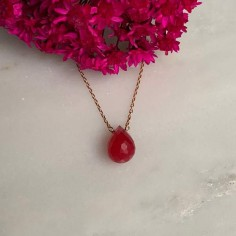 Faceted pink agate drop chain necklace gold plated