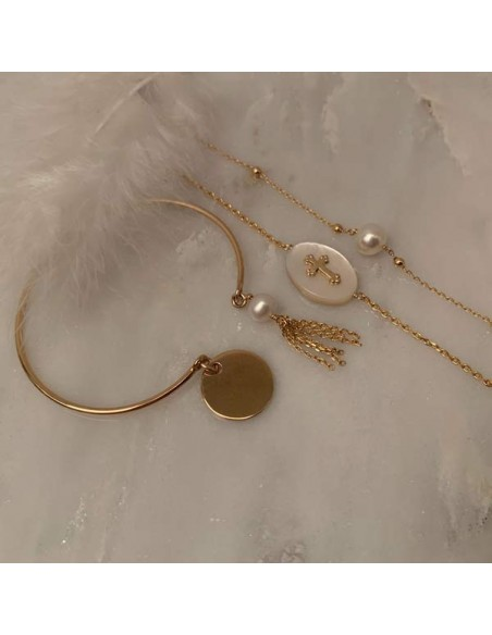 Small beads chain bracelet gold plated white freshwater pearl