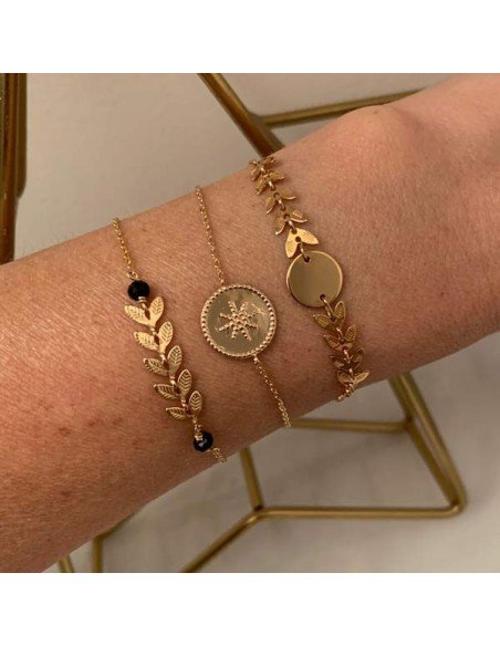 Chain bracelet gold plated beads circled star