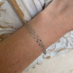 Chain bracelet silver 925 three small beads rows