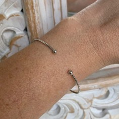 Two beads thin bangle silver 925