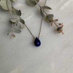 Faceted lapis lazuli drop chain necklace silver 925
