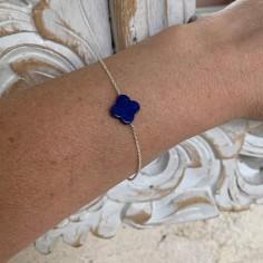 Chain bracelet silver 925 small flat lapis lazuli cross