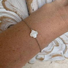 Chain bracelet silver 925 white mother of pearl cross