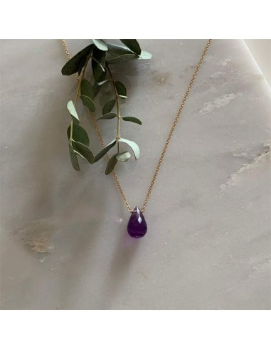 Faceted amethyst drop chain necklace gold plated