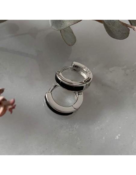 Small creole wavy earrings silver 925