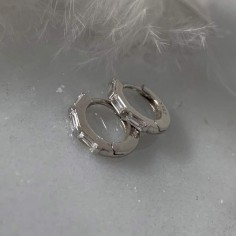 Small 925 silver hoop earrings with baguette zircons