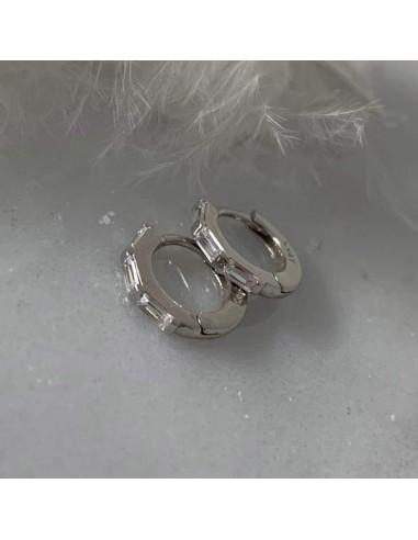 Boucles d'oreilles mini créoles zircons baguettes argent