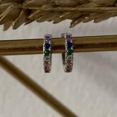 Boucles d'oreilles mini créoles zircons arc en ciel argent