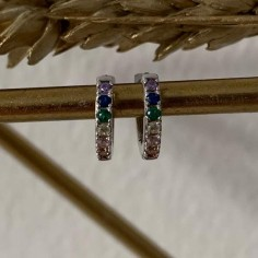 Small silver 925 hoop earrings with zircons