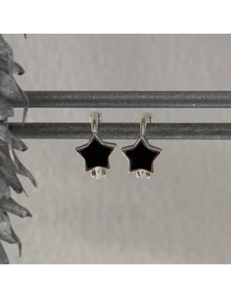 Small silver 925 black hoop earrings