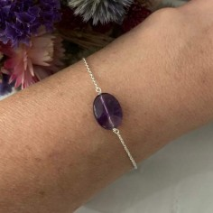 Chain bracelet silver 925 oval faceted amethyst