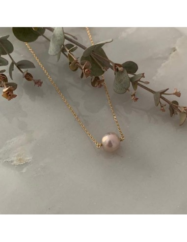 Light pink baroque freshwater pearl chain necklace gold plated