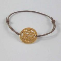 Bracelet cordon Noeud Baroque entouré plaqué or