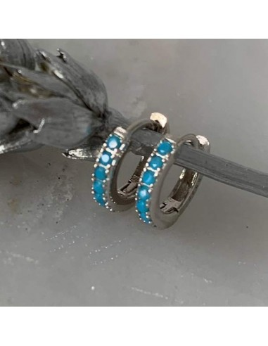 Silver 925 turquoise small hoop earrings