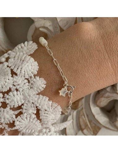 Silver 925 rectangle chain with white...
