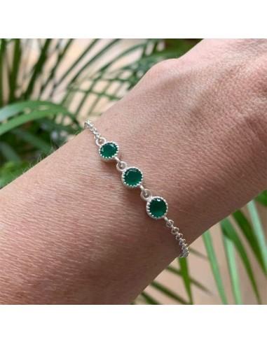 Silver 925 three green onyx chain...