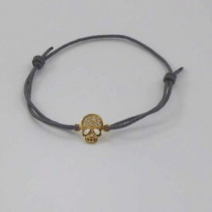 Bracelet cordon mini Tête de Mort pavage zircons plaqué or