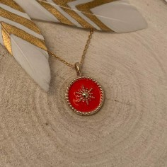 Gold plated coral medal...