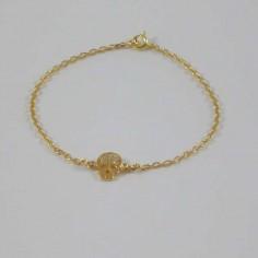 Bracelet chaine Tête de mort petits zircons plaqué or