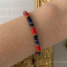 Blue and red stones Heishi...