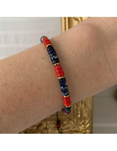 Blue and red stones Heishi bracelet