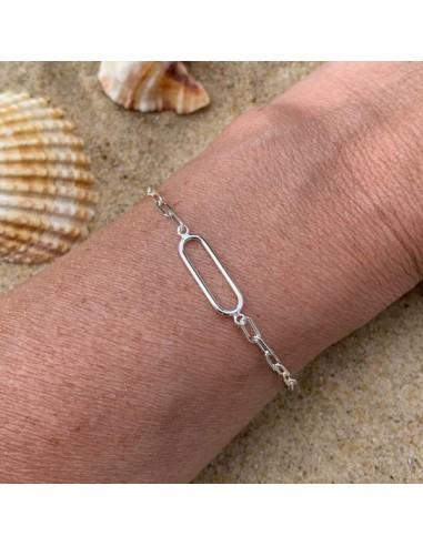 Silver 925 link rectangle chain bracelet