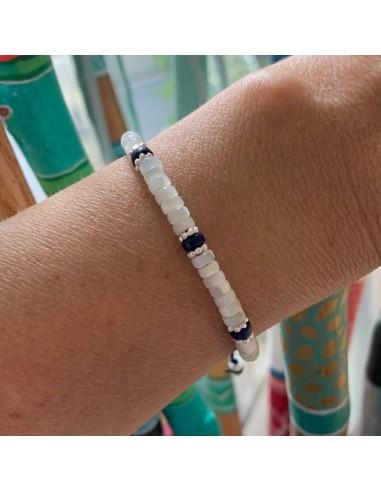 Bracelet Heishi nacre blanche et...