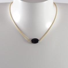 Collier chaine plaqué or Onyx ovale facetée